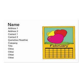 February Calander Pack Of Standard Business Cards