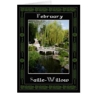 February Celtic Druid Birthday Tree Symbols Greeting Card