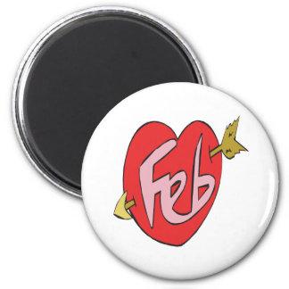 February Heart 6 Cm Round Magnet