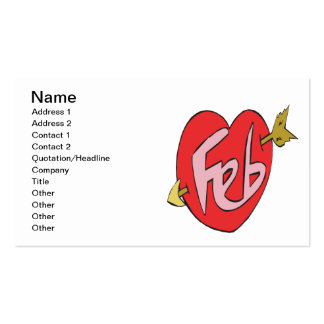February Heart Pack Of Standard Business Cards
