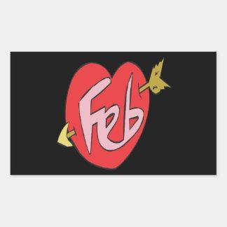 February Heart Rectangular Stickers