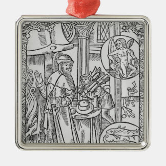 February, interior scene, Aquarius Christmas Ornament