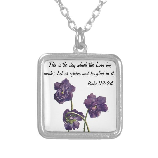 February violet flower w/bible verse necklace