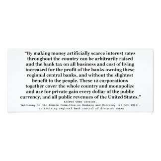 Federal Reserve Interest Rates by Alfred O Crozier 10 Cm X 24 Cm Invitation Card