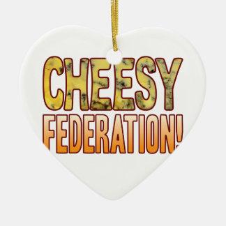Federation Blue Cheesy Ceramic Heart Decoration