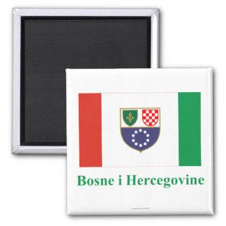 Federation of Bosnia & Herzegovina Flag with Name  Square Magnet