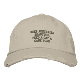 Feed A Cat A Cane Toad Embroidered Hat