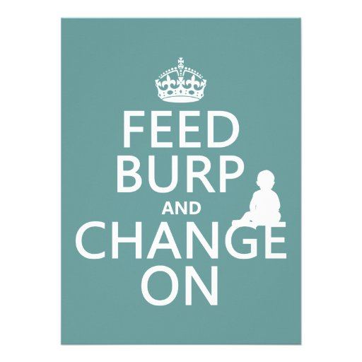 Feed Burp and Change On (baby) (any color) Personalized Invites
