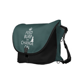 Feed Burp and Change On (baby) (any color) Messenger Bags