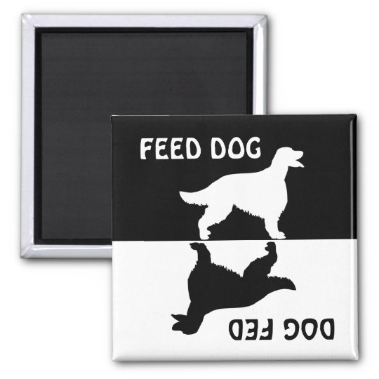 Feed dog, dog fed, Irish Setter fridge magnet