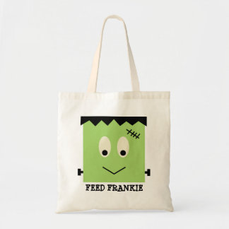 Feed Frankie green Halloween candy trick or treat Budget Tote Bag