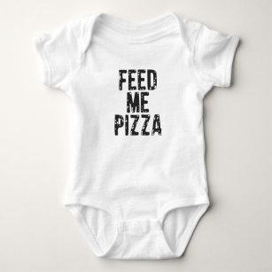 Feed Me Pizza Print Baby Bodysuit
