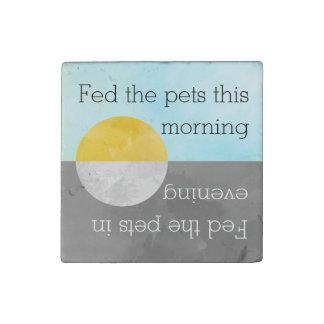 Feed Pets Kitchen Reminder | Fed Dog Cat Fish Pet Stone Magnet