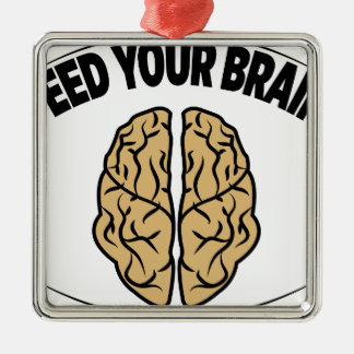 FEED YOUR BRAIN Silver-Colored SQUARE DECORATION