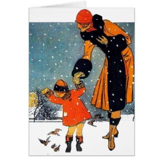 Feeding Birds in the Snow Card
