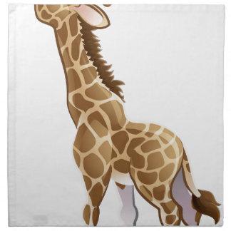 Feeding Giraffe Animal Cartoon Character Napkin