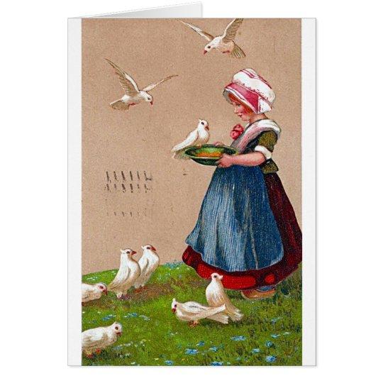 Feeding the Birds Vintage Card