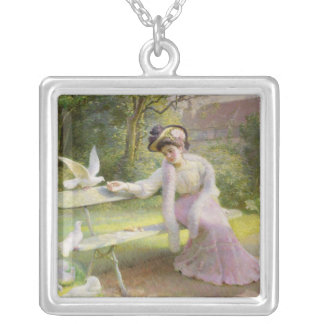 Feeding the Doves Silver Plated Necklace