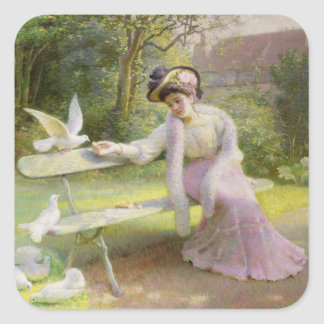 Feeding the Doves Square Sticker