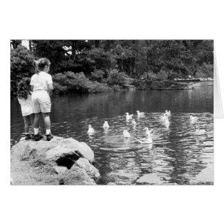 Feeding the Ducks notecard Greeting Card