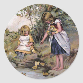 """Feeding the Ducks"" Vintage Classic Round Sticker"