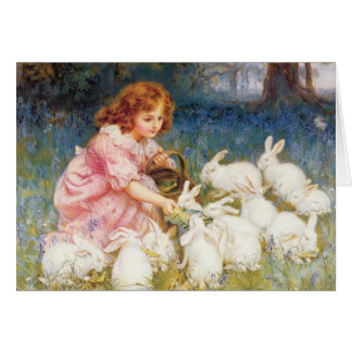 Feeding the Rabbits Greeting Card