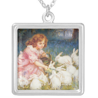 Feeding the Rabbits Silver Plated Necklace