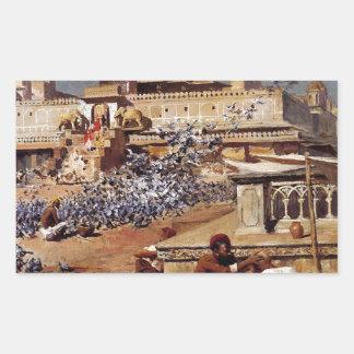 Feeding The Sacred Pigeons, Jaipur by Edwin Lord Rectangular Sticker