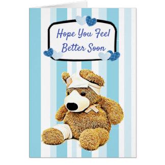 Feel Better Teddy Bear Blue Get Well Card
