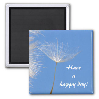 Feel free - Flying Dandelion seed Square Magnet