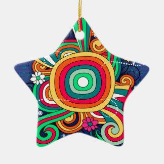 Feel Happy Vibrant Fun Ceramic Star Decoration