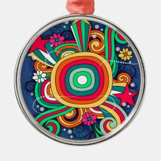 Feel Happy Vibrant Fun Silver-Colored Round Decoration