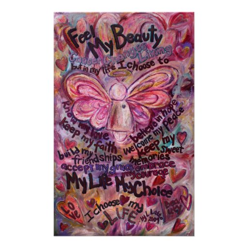 Feel My Beauty Pink Cancer Angel Poster