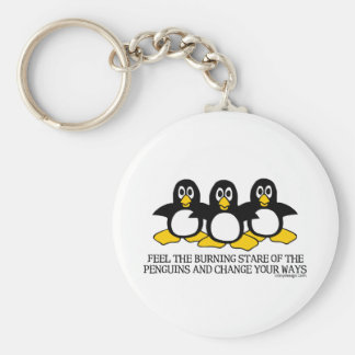 Feel The Burning Stare Of The Penguins Basic Round Button Key Ring