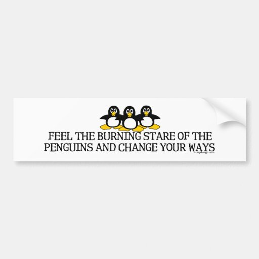 Feel The Burning Stare Of The Penguins Bumperstick Bumper Sticker
