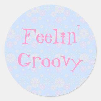 Feelin' Groovy Flower Child Round Sticker