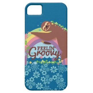 Feelin groovy funny sloth retro hippie rainbow barely there iPhone 5 case