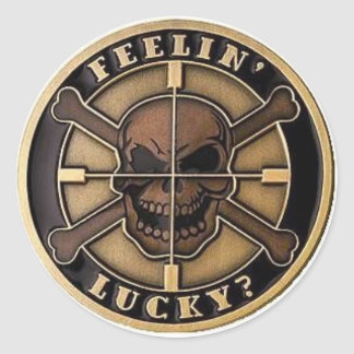 FEELIN LUCKY? CLASSIC ROUND STICKER