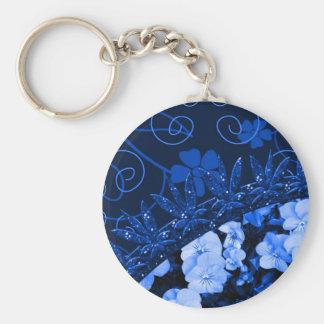 Feeling Blue Floral & Glitter Key Ring