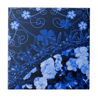 Feeling Blue Floral & Glitter Tile