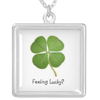 Feeling Lucky? Square Pendant Necklace
