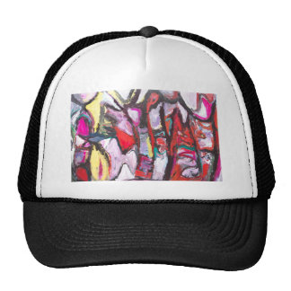 Feeling Pink rather than Red (abstract  painting) Mesh Hat