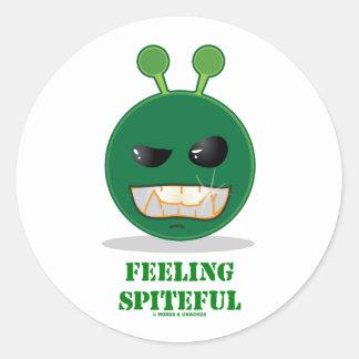 Feeling Spiteful (Green Alien Expression) Round Stickers