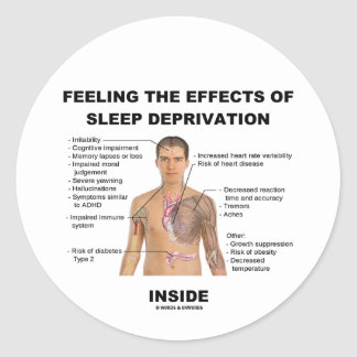 Feeling The Effects Of Sleep Deprivation Inside Round Sticker