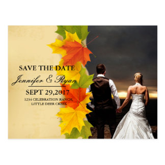 feelings love in sunset.couple wedding/leafs,fall, postcard