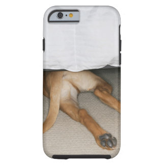 Feet and tail of yellow lab dog hidden under bed tough iPhone 6 case