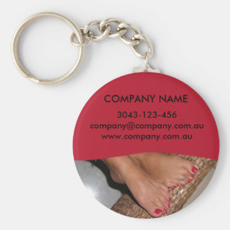 Feet Basic Round Button Key Ring