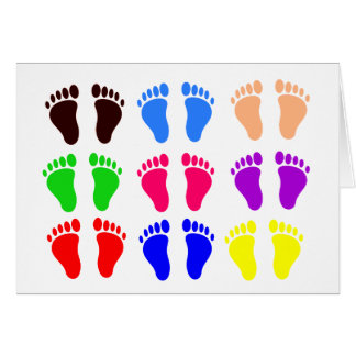 Feet of colors, colorful, funny tracks card