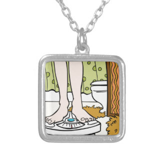 Feet Standing on Bathroom Scale Cartoon Silver Plated Necklace