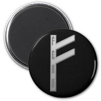 Fehu Rune grey 6 Cm Round Magnet